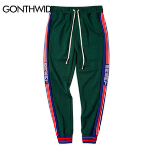 GONTHWID Side Striped Letter Printed Harem Pants Joggers Mens 2017 Autumn Hip Hop Color Block Patchwork Track Pants Trousers