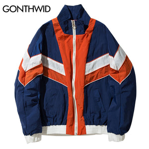 GONTHWID Vintage Multicolor Color Block Windbreaker Jackets Men 2017 Autumn Zip Up Jacket Hip Hop Casual Contrast Track Jackets