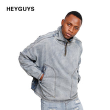 HEYGUYS  Europe high  street long zipper  Denim jacket men cool  Hip Hop wear hot selling winter break  jacket men designer