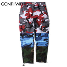 GONTHWID Tri Color Camo Patchwork Cargo Pants Men's Hip Hop Casual Camouflage Trousers Fashion Streetwear Joggers Sweatpants