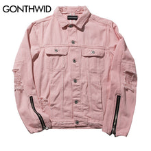 GONTHWID Pink Ripped Denim Jackets Mens Hip Hop 2017 Autumn Distressed Denim Jacket Fashion Casual Jeans Coats Streetwear Black