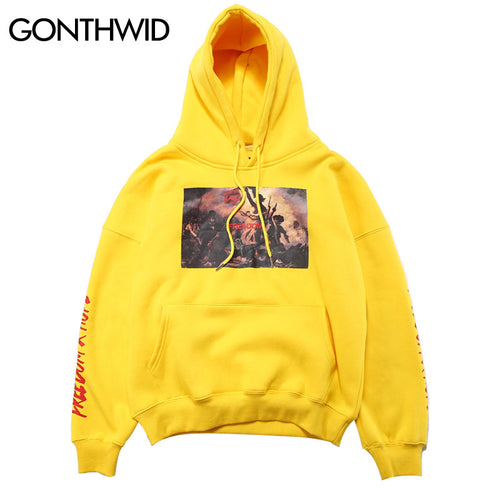 GONTHWID Painting Printed Hoodies Men's 2017 Autumn Winter Fleece Sweatshirts Hip Hop Casual Cotton Pullover Skateboard Hoodie