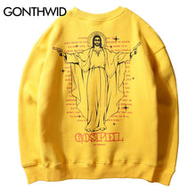 GONTHWID Jesus Embroidery Fleece Hoodies Men 2017 Winter Hip Hop Funny God Printed Pullover Sweatshirts Casual Cotton Streetwear