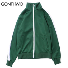 GONTHWID Stripe Patchwork Jackets Coat 2017 Autumn Tracksuit Top Full Zip Retro Joggers Jacket Fashion Casual Jackets Streetwear