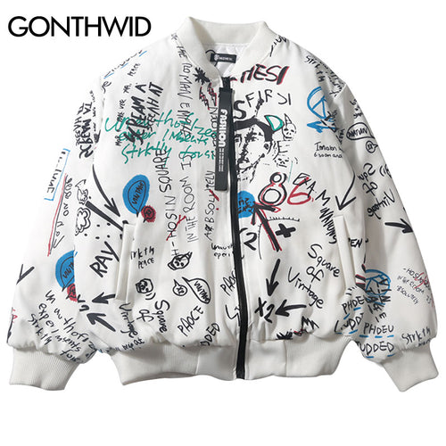 GONTHWID Graffiti Ma1 Bomber Jackets Thick 2017 Winter Mens Hip Hop Casual Cotton Stand Collar Baseball Jacket Coats Streetwear