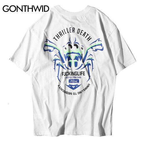 GONTHWID Chinese Character Poker Printed T shirts Mens 2018 New Summer Hip Hop Casual Cotton Short Sleeve Tops Tees Streetwear
