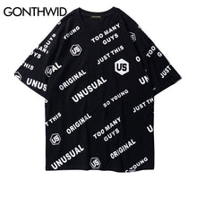 GONTHWID 2018 Summer Full Letter Printed Short Sleeve T-Shirts Men's Hip Hop Casual Cotton Streetwear Tee Tops Fashion Tshirts