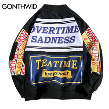 GONTHWID Funny Printed Baseball Bomber Jackets Coats Hip Hop Casual Cotton Streetwear Jacket 2018 Fashion Mens Ma1 Pilot Jackets