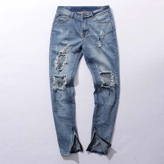 HEYGUYS 2018 fashion high street mens destroyed jeans hole casual pants ankle cool blue joggger damage jeans rock star jeans