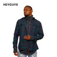 HEYGUYS 2018  green shirt street wear men fashion brand original design check  shirts men plain hip hop clothing men floral