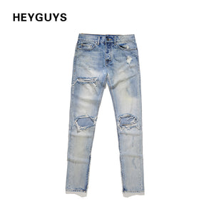 HEYGUYS 2018 NEW fashion street mens destroyed jeans hole casual pants cool green jeans  damage jeans rock hip hop high quality
