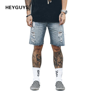 HEYGUYS 2018 new design hip hop damage denim shorts men street wear with hole high quality cotton