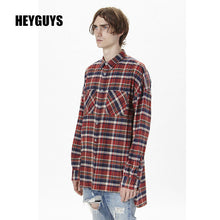 HEYGUYS  2018 HIP hop red plain shirts fashion street wear  shirts man hot selling oversize zipper checked god