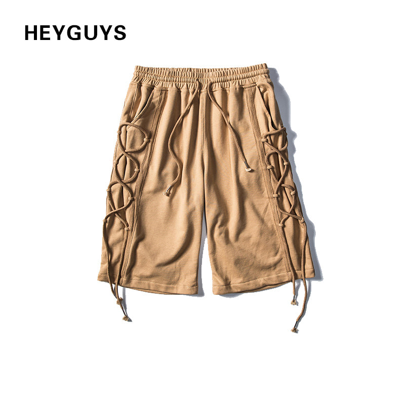 HEYGUYS 2018 design short men men board sweat short  beach clothing	street wear short  hot pants ties