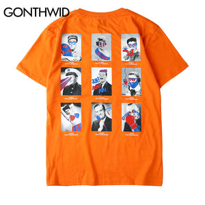 GONTHWID Funny Graffiti Photos Printed Short Sleeve T-Shirt Streetwear 2018 Summer Hip Hop Casual Mens Tops Tees Hipster Tshirts