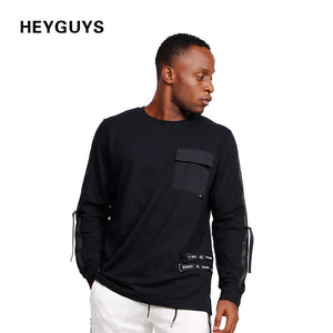 HEYGUYS  2018  NEW MEN'S High Street  HIPHOP T Shirt Pure Black Clour Cotton long Sheeve T Shirt Side Stripe O-Neck Pocket