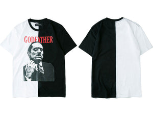 GONTHWID Godfather Marlon Brando Printed Short Sleeve T Shirts Hip Hop Color Block Patchwork Split Casual Cotton Tshirts Top Tee