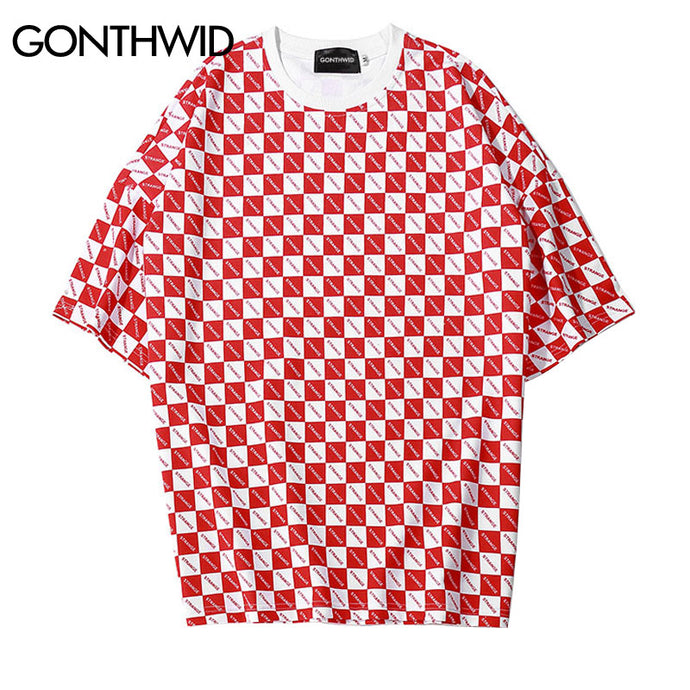 GONTHWID Full Letter Square Printed T Shirts 2018 Hip Hop Short Sleeve Mens Tops Tees Fashion Casual Cotton Tshirts Streetwear