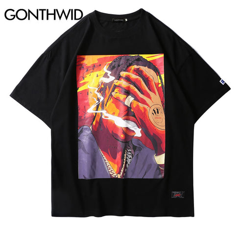 GONTHWID Hip Hop Smoking Printed T Shirts 2018 Hip Hop Casual Cotton Tops Tees Men Fashion Summer Streetwear Skateboards Tshirts