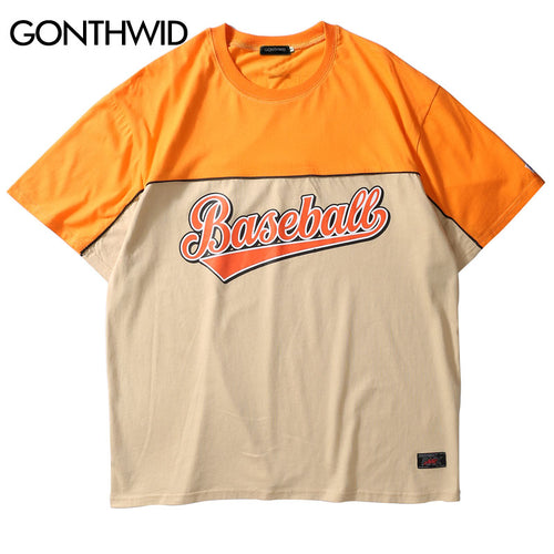 GONTHWID Color Block Patchwork T-Shirts Hip Hop Baseball Printed Short Sleeve Streetwear Tops Tees 2018 Casaul Cotton Tshirts