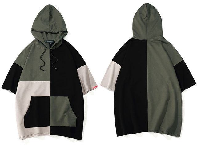 GONTHWID Color Block Patchwork Pullover Short Sleeve Hoodies Men 2018 Summer Hip Hop Casual Pocket Hooded Sweatshirts Streetwear
