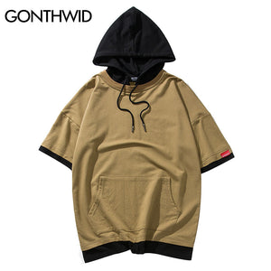 GONTHWID Mens Short Sleeve Pullover Hoodies T Shirts Hip Hop Casual Pocket Streetwear Sweatshirts Hipster Skateboards Hoodies