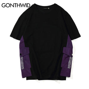 GONTHWID Side Pockets Color Block Patchork T Shirts 2018 Hip Hop Casual Short Sleeve Streetwear Tshirts Fashion Streetwear Tops