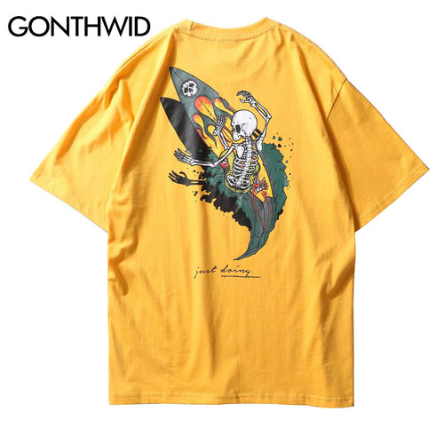 GONTHWID Skull Surfing Printed Short Sleeve T Shirts Mens 2018 Hip Hop Casual Tshirts Fashion Skateboards Streetwear Cotton Tees