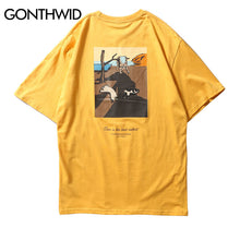 GONTHWID Funny Cats Painting Printed Short Sleeve T Shirts 2018 Summer Mens Streetwear Tops Tees Hip Hop Casual Cotton Tshirts