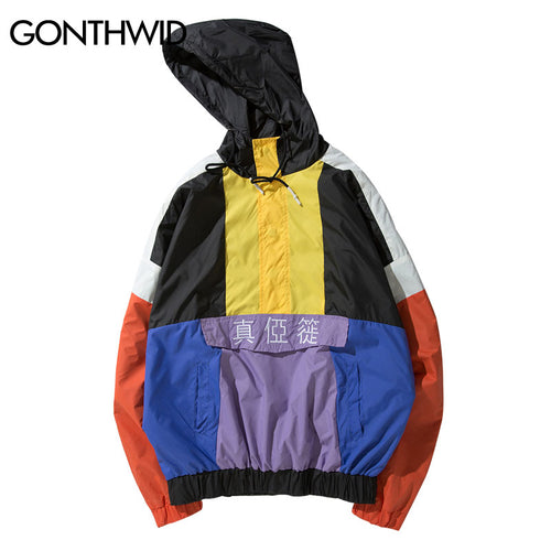 GONTHWID Vintage Color Block Embroidered Pullover Hooded Jackets 2018 Spring Autumn Button Windbreaker Hoodies Jacket Streetwear