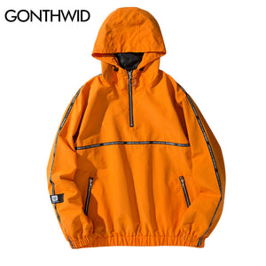 GONTHWID Ribbon Pullover Tracksuit Hoodie Jackets 2018 Spring Autumn Hip Hop Half Zip Windbreaker Jacket Coat Fashion Streetwear