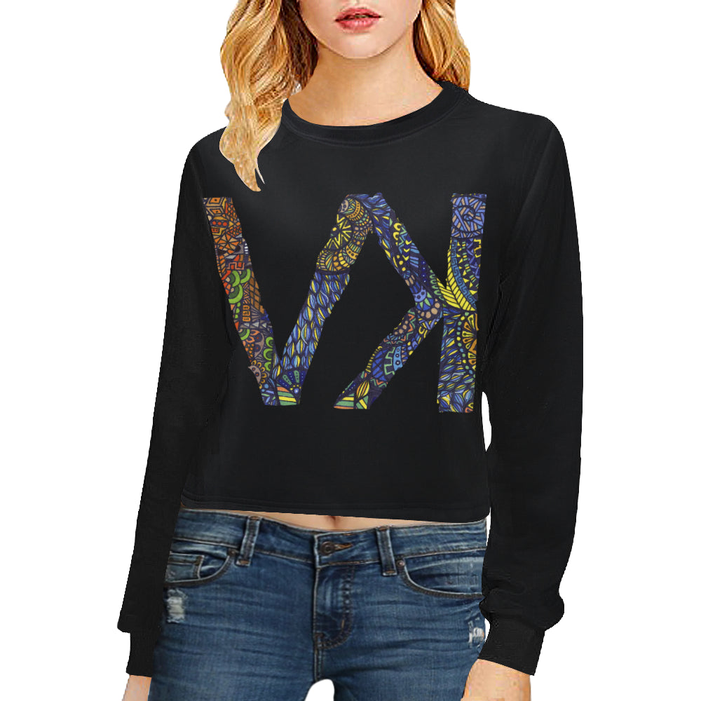 Starry Night Women's Cropped Pullover Sweatshirts (Model H20)