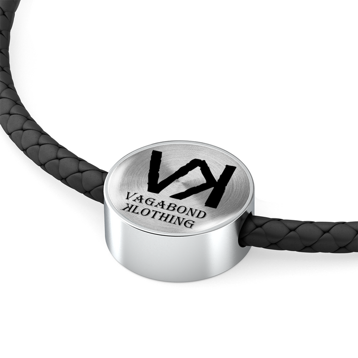 VK Double-Braided Real-Leather Charm Bracelet