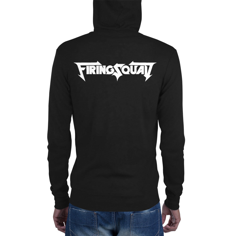FIRING SQUAD Official White logo Unisex zip hoodie