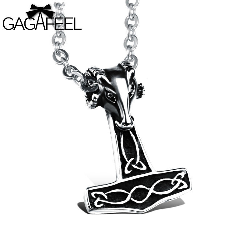 Stainless Steel Men Sheeps head Thor Hammer Pendant Vintage Link Chain, Jewelry, Vagabond Klothing Ko.- Vagabond Klothing Ko.