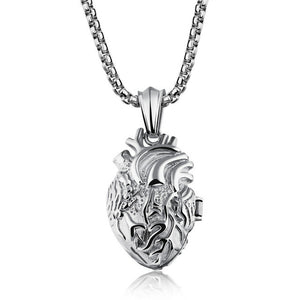 Men's Stainless Steel Anatomically Correct Heart Pendants Gold, Silver