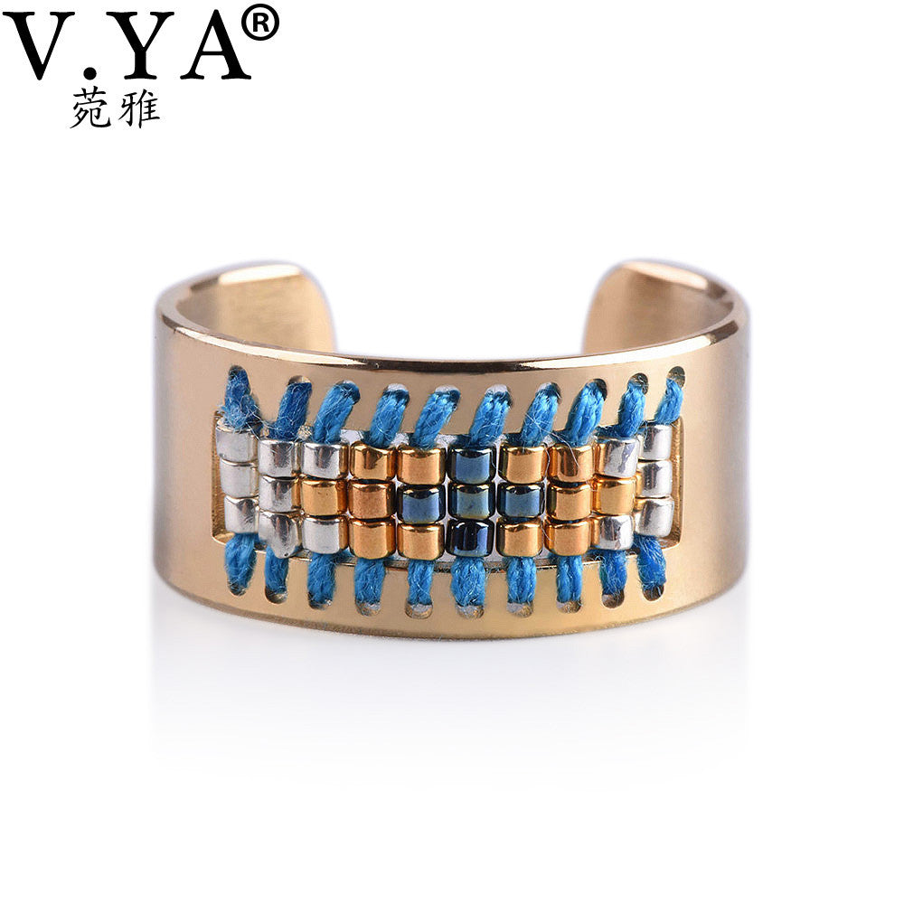 Stainless Steel Ring Women's Friendship Seed Bead Jewelry, Jewelry, Vagabond Klothing Ko.- Vagabond Klothing Ko.