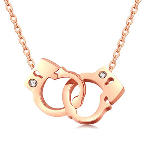 Handcuff Crystal Jewelry Pendant Silver, Rose Gold Color, Stainless Steel, Jewelry, Vagabond Klothing Ko.- Vagabond Klothing Ko.