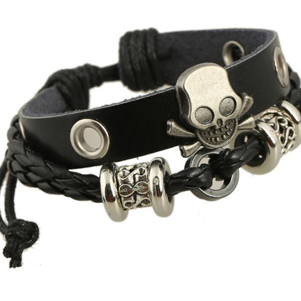 Stainless Punk Leather Skull Bracelets, Jewelry, Vagabond Klothing Ko.- Vagabond Klothing Ko.