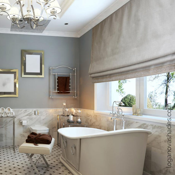 Faux linen bathroom window treatments