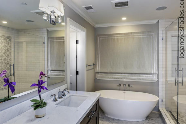 Neutral bathroom window coverings