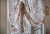 "Custom Beige Floral Design London Sheer Roman Shade ""Paloma Sand"""
