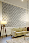 Custom Luxury Taupe Geometric Pattern Roman Shade Selena Medow