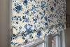 Blue Flowers Floral Pattern Flat Roman Shade