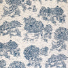 Blue French Style Pattern Flat Cotton Roman Shade