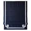 Dark Blue Flat Linen Roman Shade with Greek Key Design