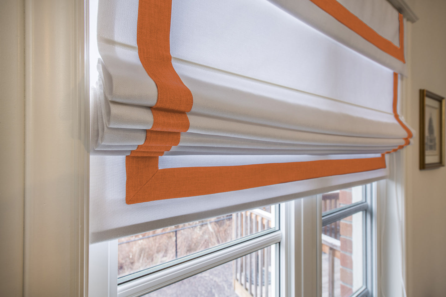 Custom Made roman shade Relaxed Roman Shade White with Orange Borders with chain mechanism