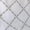 Custom Geometric Grey Embroidery Pattern Ryder Silver Relaxed Roman Shade
