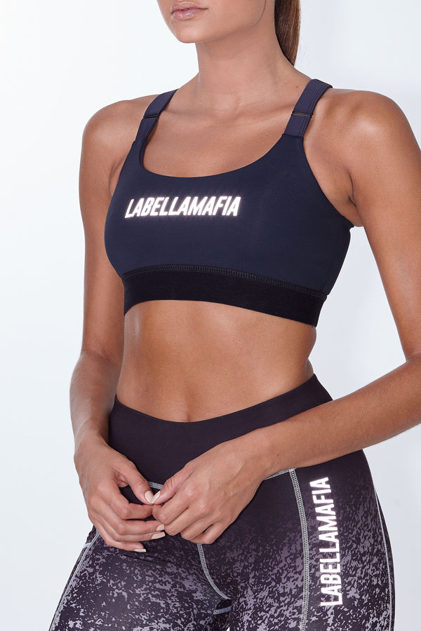 Labellamafia, women sportswear, woman sportswear, leggings, yoga, fitness, woman bodybuilding,  Labellamafia Essentials Style Black Fitness Top