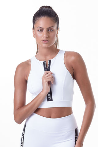 Labellamafia, women sportswear, woman sportswear, legging, yoga, fitness, woman bodybuilding,  Labellamafia Essential Lux White Fitness Top